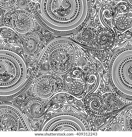 Abstract seamless hand-drawn spiral pattern. Monochrome black and white vector doodle ornament. 