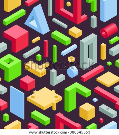 Abstract Seamless Hi-Tech Background with Colorful 3D Objects on Black. Modern Art Vector Concept. Mix of Geometric Cube Shapes in Funky Techno Style - stock vector