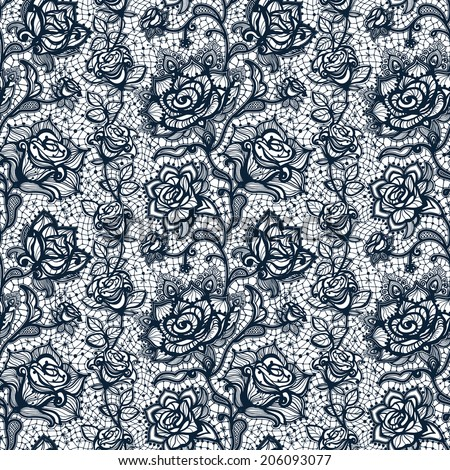 Abstract seamless lace pattern with flowers roses. Infinitely wallpaper, decoration for your design, lingerie and jewelry. Your invitation cards, wallpaper, and more. - stock vector