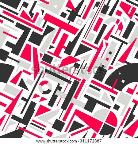 Abstract Seamless Modern Art Pattern for Textile Design. Mix of Geometric Shapes. Vector Illustration in Mosaic Style - stock vector