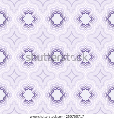 Abstract seamless oriental ornate purple vector pattern. - stock vector