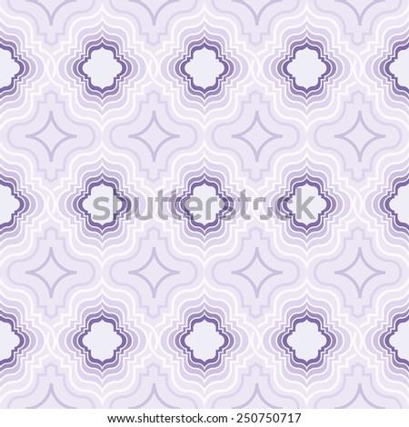 Abstract seamless oriental ornate purple vector pattern. - stock vector