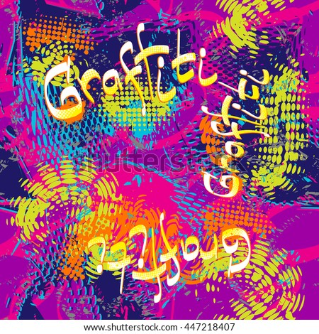 Abstract seamless patter for girls and boys. Grunge urban background with dots, shapes, bright colorful elements. Creative modern wallpaper in blue, pink, purple, orange and green neon colors. - stock vector