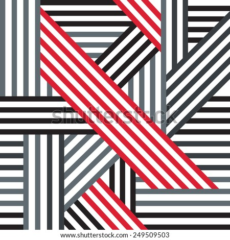Abstract seamless pattern. Black, red and gray intersecting lines. Vector. - stock vector
