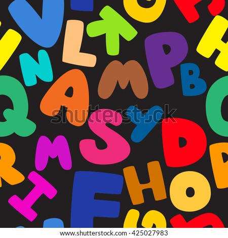 Abstract seamless pattern for textile. Wallpaper with bright alphabet for guys. . pattern for boys and girls. - stock vector