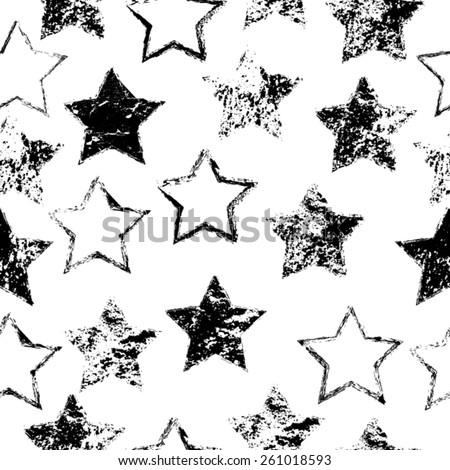 Abstract Seamless Pattern. Grunge Background. Vintage Seamless Pattern. Retro Stars. Vector Illustration.   - stock vector