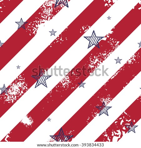 Abstract seamless pattern made from lines and hand drawn stars - stock vector