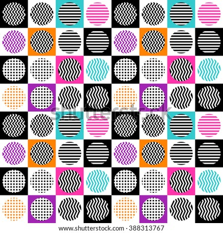 Abstract seamless pattern of circles and squares. Vector illustration. - stock vector