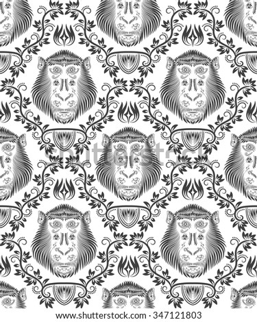 Abstract seamless pattern of repeating monkey head. Background in antique style. - stock vector
