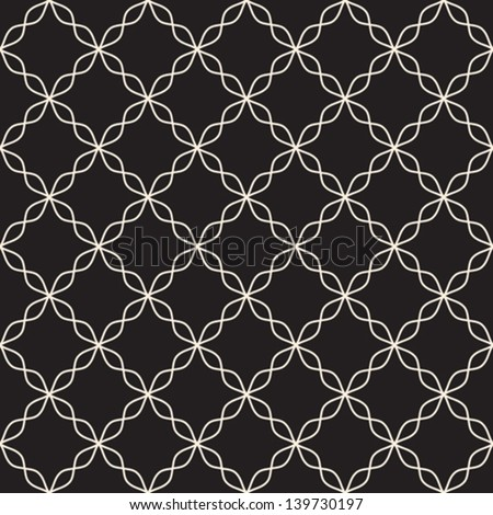Abstract seamless pattern on black, vector background - stock vector