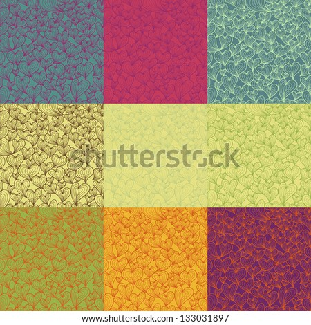 Abstract seamless pattern set with stylized hearts. Valentine design in retro colors - stock vector