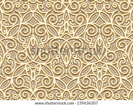 Abstract seamless pattern, vintage gold background, vector ornamental texture - stock vector