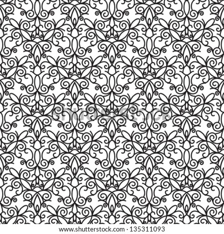 Abstract seamless pattern, vintage vector ornament, black and white background - stock vector
