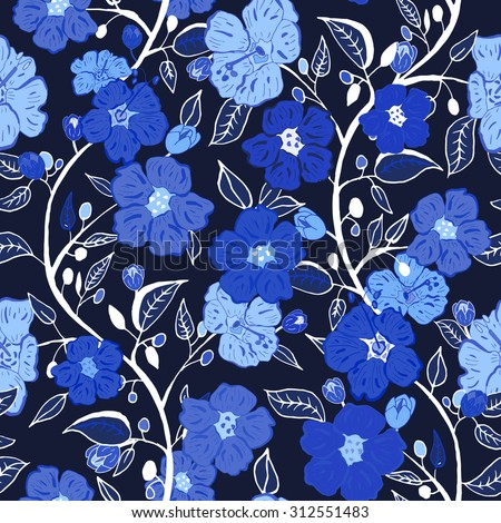 Abstract seamless pattern with blue isolated flowers. Vector illustration. - stock vector