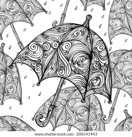 Abstract seamless pattern with cartoon umbrellas and rain drops in black and white. Monochrome repeating background. Endless print texture. Fabric design. Wallpaper - vector - stock vector