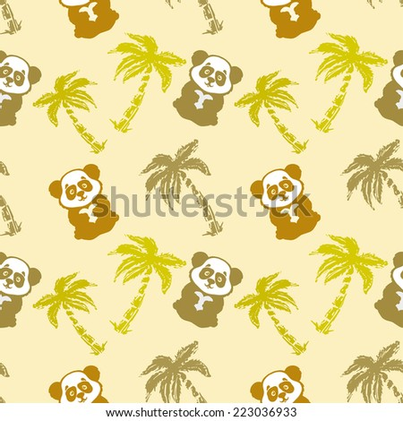 Abstract seamless pattern with cute panda bear, heart and coconut palm trees. Repeated background. Nature print texture. Cloth design. Wallpaper - stock vector