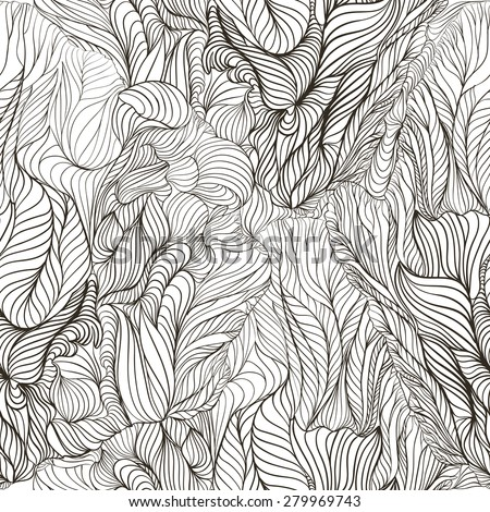 Abstract seamless pattern with elements of leaves and flowers. It forms a beautiful soft mesh texture in the form of diamonds.  Black and white.  - stock vector