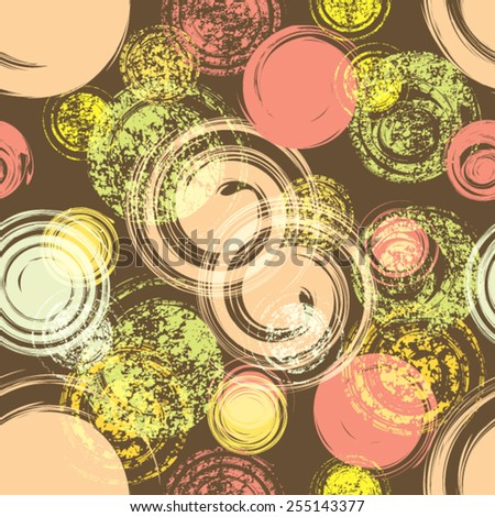 Abstract Seamless Pattern with Grungy Circles. Vector Illustration.  - stock vector