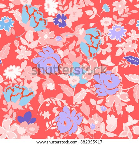 Abstract seamless pattern with isolated hand drawing flowers on red background. Vector illustration. - stock vector