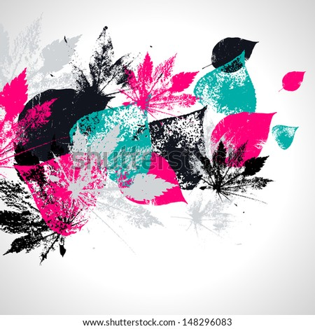 Abstract seamless pattern with leaves  - stock vector