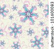 Abstract seamless pattern with paisley elements and stylized flowers. Vector illustration - stock vector