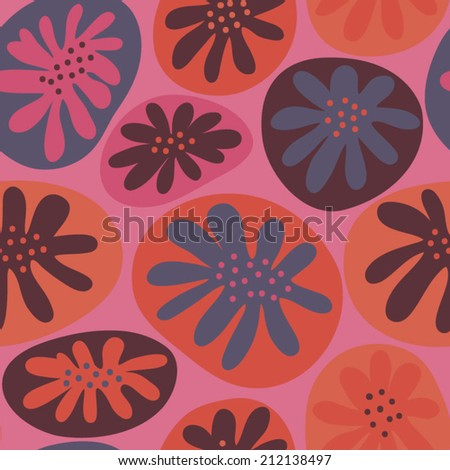 Abstract seamless pattern with stylized flowers. Botanical floral background in cartoon style - stock vector