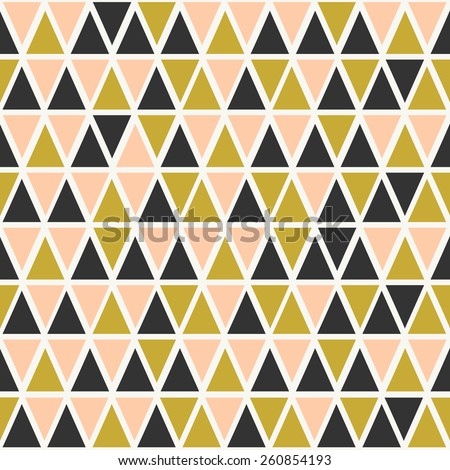 Abstract seamless pattern with triangles in pastel pink, gold and dark gray. - stock vector