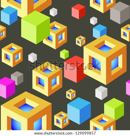 Abstract Seamless Vector background with Colored Cubes on Black. Cubes Modern Art Pattern - stock vector