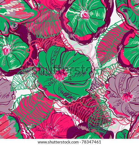Abstract seamless vector texture with bright flowers - stock vector