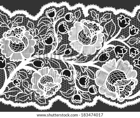 Abstract seamless white lace ribbon with feminine floral pattern. Vector illustration. - stock vector