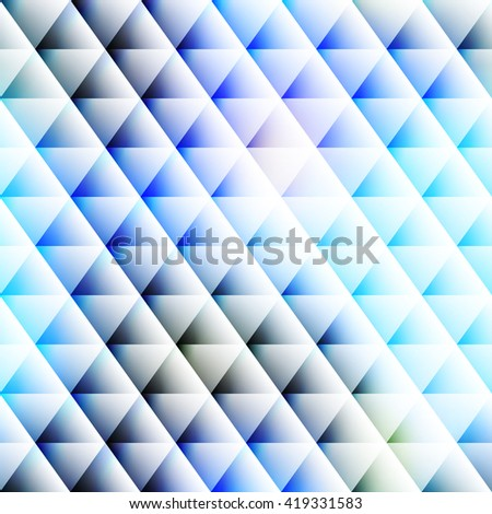 Abstract seamless  white triangles pattern with a glow and shadow - stock vector