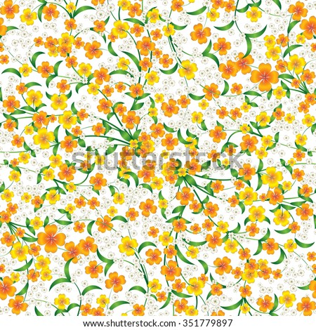 abstract seamless yellow floral ornament on white - stock vector