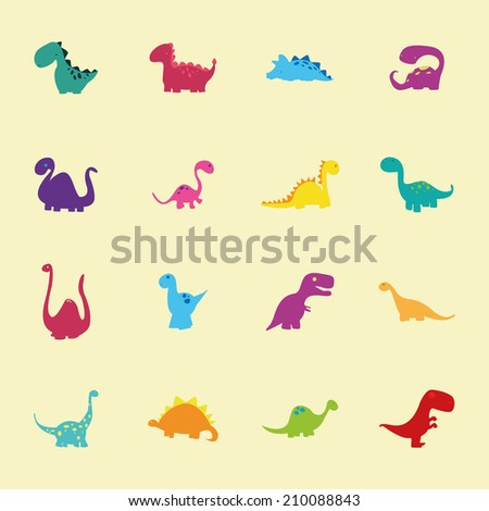 abstract set of cute dinosaurs on a light yellow background - stock vector