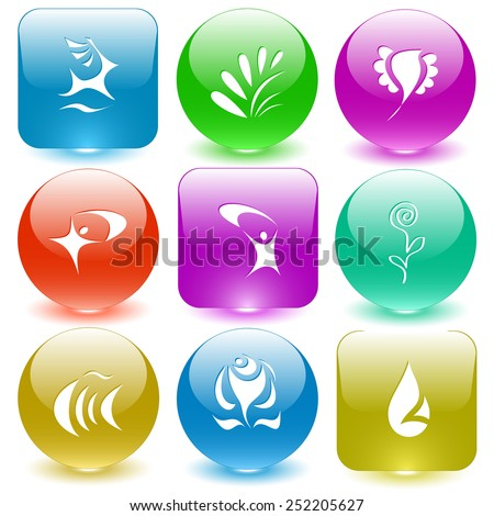 Abstract set. Vector set glass buttons. - stock vector