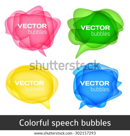 Abstract shape design. Colorful spech bubles set. Set of round colorful vector shapes. Abstract vector banners. Design elements. - stock vector