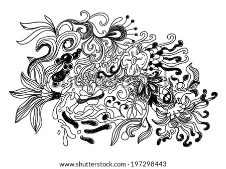 abstract shapes like flowers doodle style illustration - stock vector