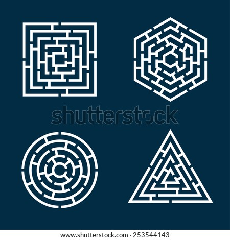 abstract shapes of square, circle, triangle, hexagon maze - stock vector