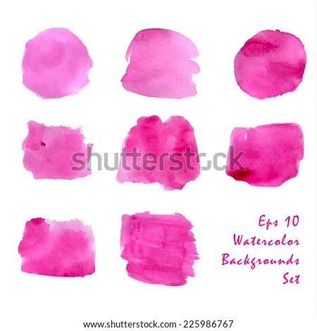 Abstract shapes pink watercolor backgrounds set. Vector illustration. - stock vector