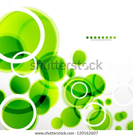 Abstract shapes vector background: green bubbles - stock vector