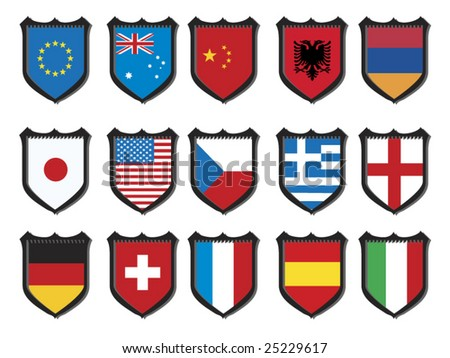 Abstract Shapes World Flags - stock vector