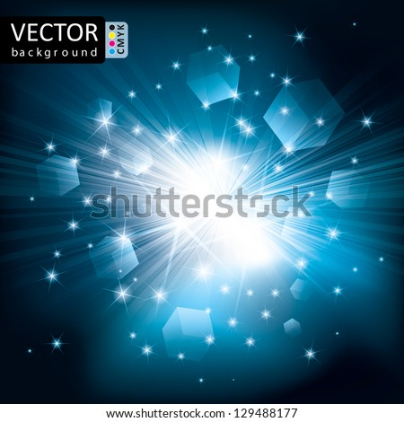 Abstract Shine Light Cubes Flying Rays Background CMYK Color. - stock vector