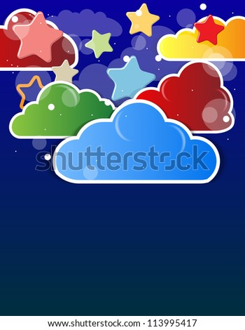 abstract shining cloud and stars in the night sky vector background - stock vector