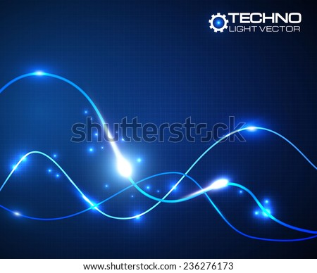 Abstract shining wave background. Electric wires. Vector illustration  - stock vector