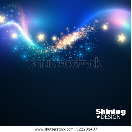 Abstract shining wave background with lights. Vector illustration - stock vector
