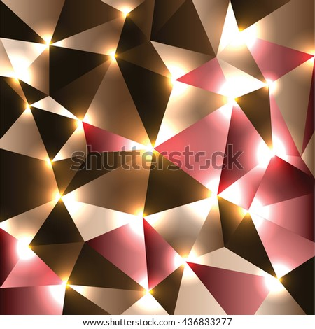 Abstract Shiny Background. Brown and red Sparkly Geometric Illustration. - stock vector
