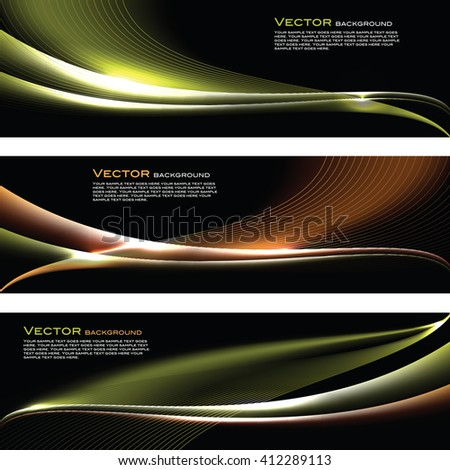 Abstract Shiny Banners. Orange and Green Backgrounds. - stock vector