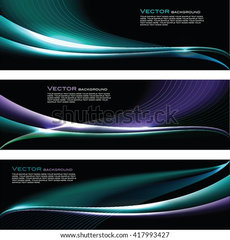 Abstract Shiny Banners. Turquoise and Blue Sparkly Backgrounds. - stock vector