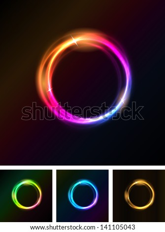 Abstract Shiny Light Circles/ Illustration of a set of abstract shiny light circles with bright stars on black background - stock vector