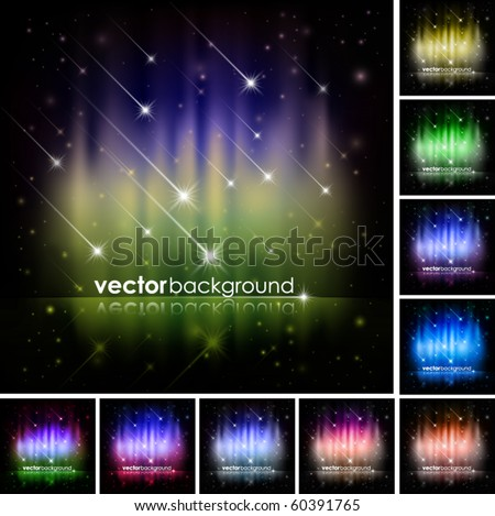 Abstract Shiny Stars Background Set - stock vector