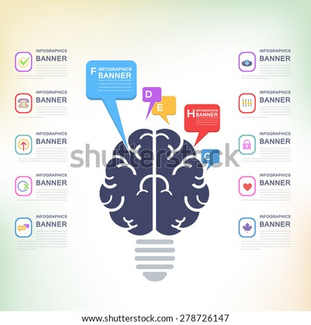 Abstract Sign Human Brain Business Solution Concept and Capacity Infographics Arrow Vector Elements Template - stock vector
